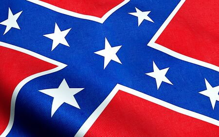 closeup of waving confederate flag of the national states of america us, fabric texture american symbol sign Editorial