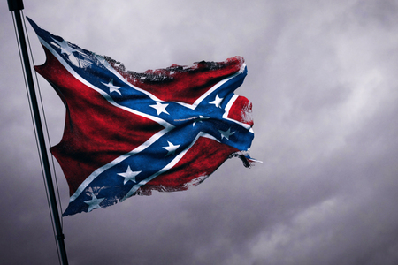 ripped tear grunge old closeup of waving confederate flag of the national states of america us, fabric texture american symbol sign on cloudy sky, dark mystery style atmosphere