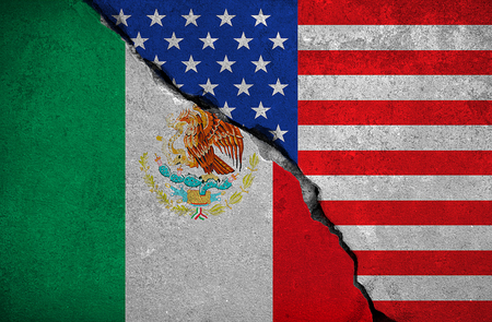 skepticism: mexico flag on broken brick wall and half usa united states of america flag, crisis trump president and mexican for construction the separation wall on the border, concept