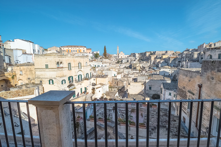 rupestrian: Panoramic view from the balcony of Matera, Italy. UNESCO European Capital of Culture 2019