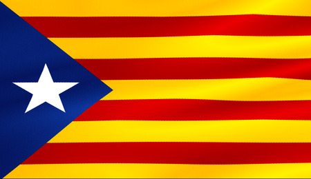 flag of catalonia yellow and red strip with star waving texture fabric background, national catalan symbol vote for separatism independence from spain concept