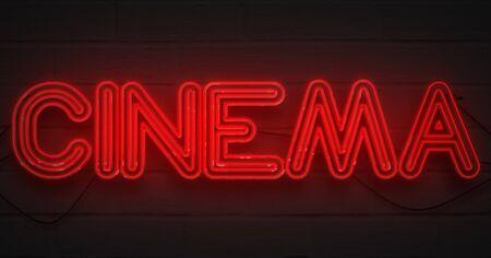 attract attention: 3D rendering flickering blinking red neon sign on dark brick background, cinema movie film entertainment sign concept