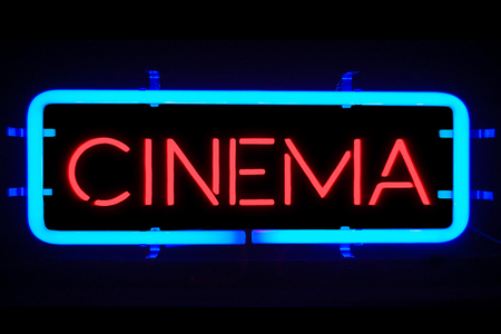3D rendering flickering blinking blue neon sign on black background, cinema movie film entertainment sign concept