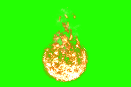 3D rendering, ball of flame fire with smoke in chroma key green screen background, dangerous flame concept