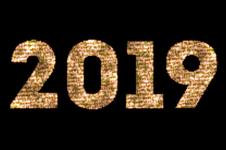 vintage yellow gold sparkly glitter lights and glowing effect simulating leds happy new year 2019 word text on black background with alpha channel, concept of golden holiday event Stock Photo