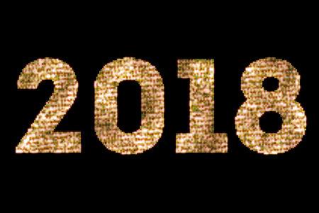 leds: vintage yellow gold sparkly glitter lights and glowing effect simulating leds happy new year 2018 word text on black background with alpha channel, concept of golden holiday event