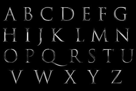 빈티지 글꼴 노란색 실버 금속 알파벳 문자 단어 텍스트 시리즈 기호 검정색 배경, 럭셔리 알파벳 장식 텍스트의 개념에 서명 스톡 콘텐츠