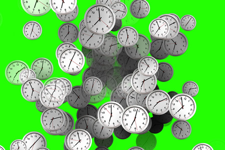 Many clocks flowing, time to wake up for breakfast, modern white metallic alarm clock on chrome key green screen background, concept of time 版權商用圖片