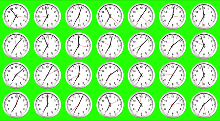 many clocks, time to wake up for breakfast, modern white metallic alarm clock on chroma key green screen background, concept of time