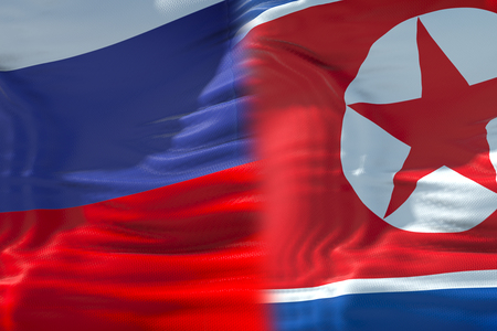 half north korea flag and half russia federation flag, crisis state diplomacy and north korea for nuclear atomic bomb risk war concept