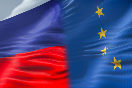 half flags of Russia and half European Union flag, crisis between russia and europe international meeting or negotiations concept Stockfoto