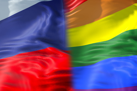 half waving colorful of gay pride rainbow flag and half russian flag waving, civil right flag in russia seamless looping, peace in the world concept