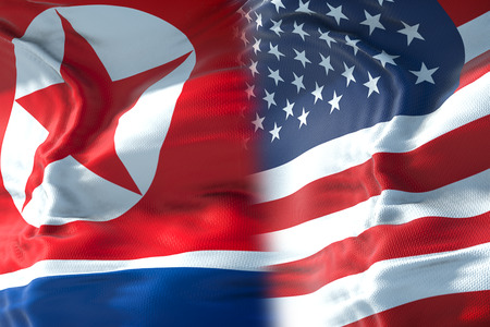 half north korea flag and half united states of america flag, crisis usa states diplomacy and north korea for nuclear atomic bomb risk war concept Standard-Bild - 103369893