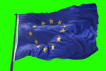 3D rendering, EU flag, euro flag with pole, flag of european union waving, yellow star on blue background with chroma key green screen