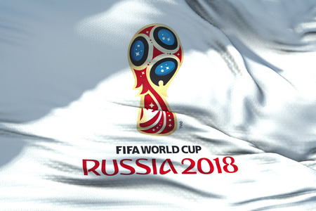 Moscow, Russia, June 14 2018, FIFA - waving fabric texture of the flag of official logo of the football world championship cup in Russia 2018, only editorial use