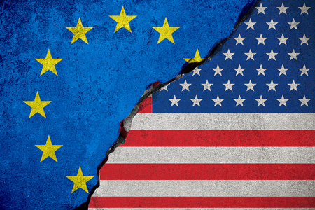 flag of the european union on broken brick wall and half usa united states of america flag, crisis president and europe for europe business customs duties on products tax export and import concept Foto de archivo