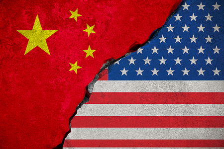 flag of the republic of china on broken brick wall and half usa united states of america flag, crisis president and china for nuclear atomic and customs duties on products tax export, import concept Stock Photo