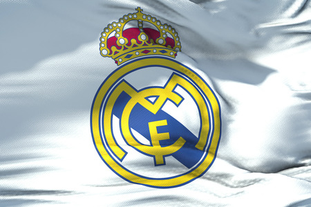 waving fabric texture flag of Real Madrid C.F. football club, real texture flag, editorial use only 에디토리얼