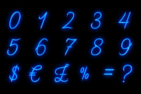 neon font blue alphabet number numeric word text series symbol sign on black background, neon numeric decoration text for advertisement