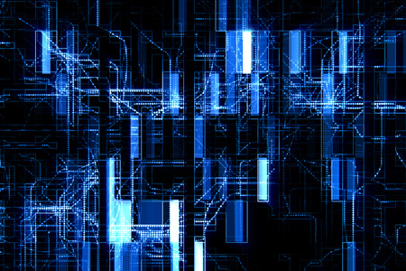 abstract blue circuit computer connect background, concept of future technology and information communication Standard-Bild - 100928263