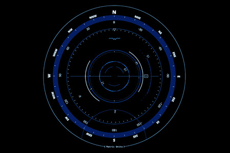 compass head-up displays on black background, concept of technology for navigation Standard-Bild - 100928266