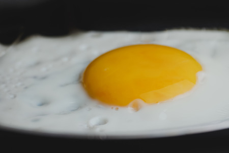close-up of eggs fried omelette with yolk yellow eggs in the pan Standard-Bild - 107781208