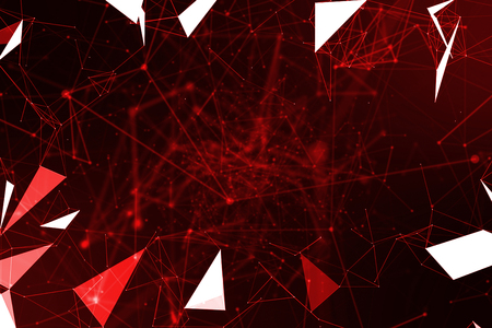 abstract red geometrical plexus flowing movement on black background with lines and dots Standard-Bild - 107661665