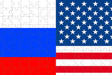 half flags of united states of america and half russian flag on puzzle pieces background , crisis between usa american and russian federation international meeting or negotiations concept Standard-Bild - 107661667