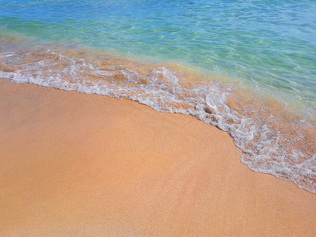tropical caribbean beach sea with gold sand, holiday, relax and travel concept Standard-Bild - 107661673