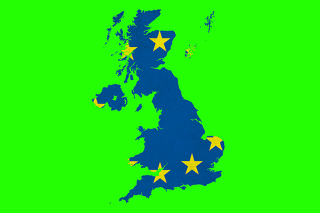 brexit blue european union EU flag on great britain map on chroma key green screen background, vote for united kingdom exit concept Standard-Bild - 107661676