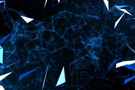 abstract blue geometrical plexus flowing movement on black background with lines and dots Standard-Bild - 107661680
