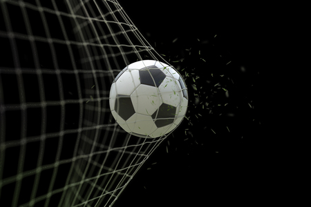 soccer ball in goal with grass leaves that raises effect on black background, concept of competition and leisure game equipment Standard-Bild - 107661683