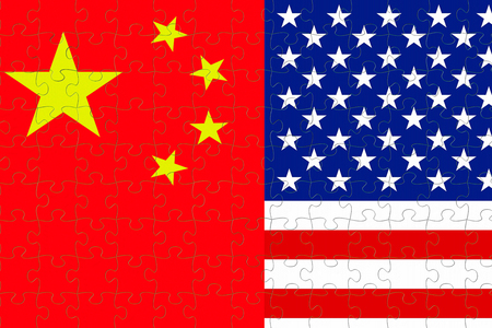 flag of the republic of china and half usa united states of america flag on puzzle pieces background, crisis president and china for nuclear atomic and customs duties on products tax export, import concept Standard-Bild - 107661688