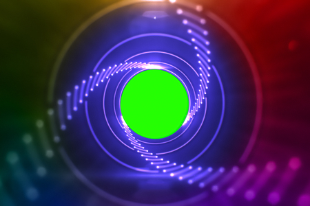 abstract laser glow lights rotating in concentric circles, rainbow psychedelic spectrum of colors, disco dancing and electronic music background, seamless loop ready with chroma key green screen in center Standard-Bild - 107781215