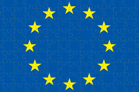 blue european union EU flag puzzle with puzzle pieces , vote for exit from europe concept Standard-Bild - 107781217