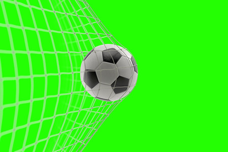 soccer ball in goal on chroma key green screen background, concept of competition and leisure game equipment Standard-Bild - 107668850