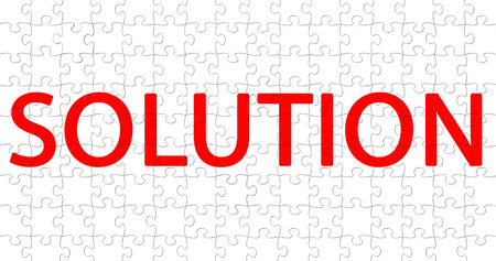 red word with solution writing on white pieces puzzle composition background, concept of solve problem Standard-Bild - 107668851