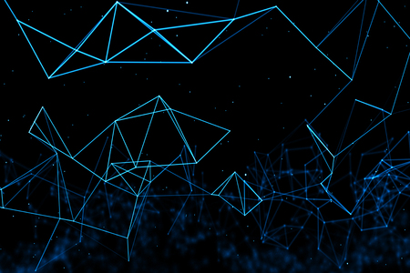 abstract blue geometrical plexus flowing movement on black background with lines and dots Standard-Bild - 107668854