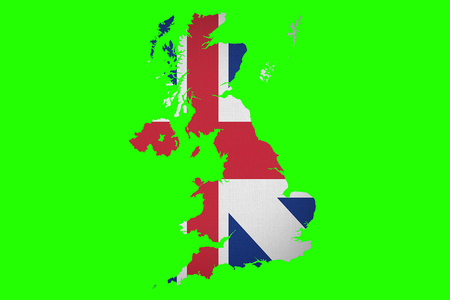 brexit half uk great britain united kingdom flag on great britain map on chroma key green screen background, vote for united kingdom exit concept Standard-Bild - 107668855