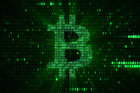 virtual green bitcoin symbol crypto digital currency on green matrix background, new business financial risk concept Standard-Bild - 107668856