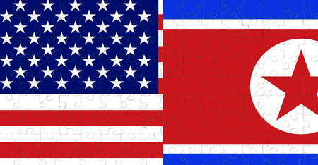 half north korea flag and half united states of america flag on puzzle pieces background, crisis usa states diplomacy and north korea for nuclear atomic bomb risk war concept Standard-Bild - 107562118