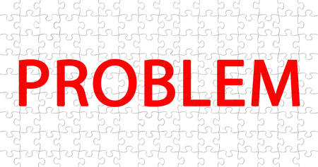 red word with problem writing on white pieces puzzle composition background, concept of solve problem Standard-Bild - 107562119