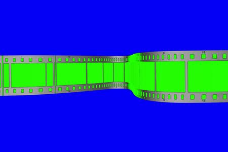 chroma key green screen film movie strip scrolling on blue chroma key background