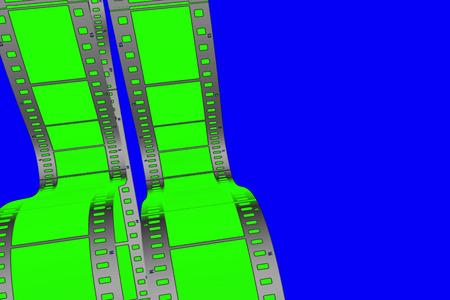 chroma key green screen film vertical movie strip scrolling on blue chroma key background Reklamní fotografie