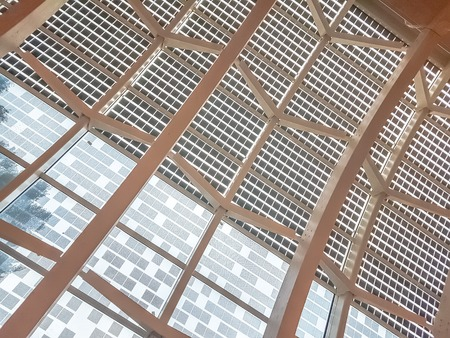 detail of modern architecture with contemporary glass windows, modern design concept of new technology