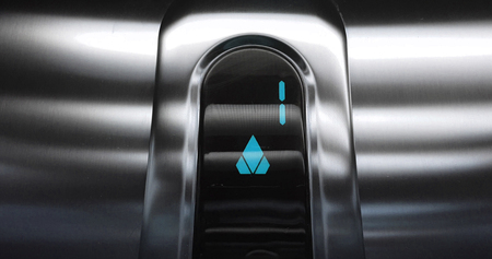 detail of blue led with number one of elevator that go up from first to second floor, business and technology concept