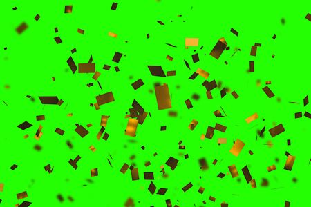 falling down golden metallic glitter foil confetti, animation movement on chroma key green screen background, gold christmas, holiday event happy new year and festive fun concept