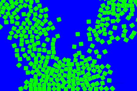 green a lot of dice cubes symbol falling down on chroma key blue screen background
