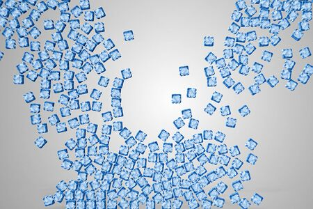 wall of a lot of ice cubes symbol falling down on grey screen and fill the screen background, concept of refreshment drink, cool beverage on grey screen Stok Fotoğraf