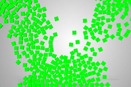 green a lot of dice cubes symbol falling down on grey gradient screen background